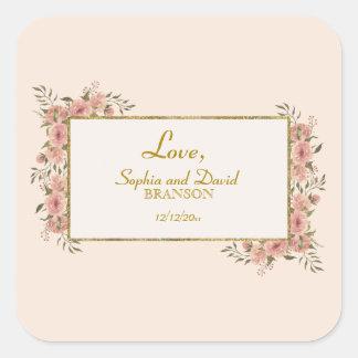 Omkullkastar blom- guld för vintage rambröllop fyrkantigt klistermärke