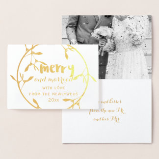 Omkullkastar det glada och gifta fotoet för den folierat kort
