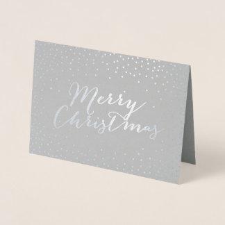 Omkullkastar modernt silver för god jul konfettiar folierat kort