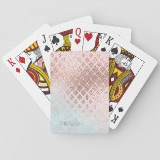 Omkullkastar pudrar rosa guld för diamanter och spelkort