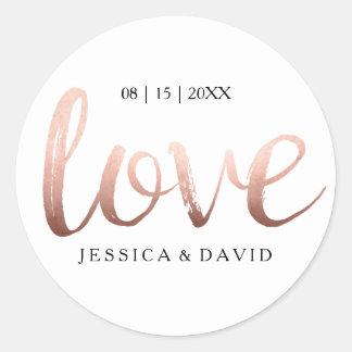 Omkullkastar rosa guld för fauxen kärlek runt klistermärke