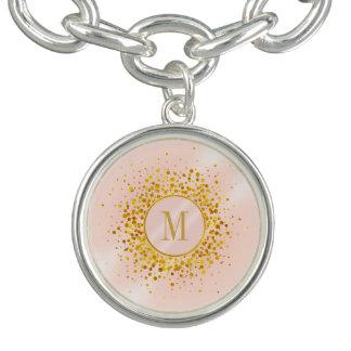 Omkullkastar rosa guld för konfettimonogramen armband