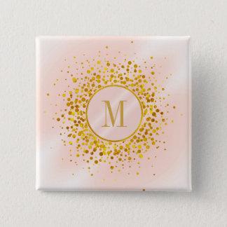 Omkullkastar rosa guld för konfettimonogramen standard kanpp fyrkantig 5.1 cm
