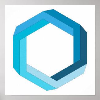 Omöjlig geometri: Blåttsexhörning Poster
