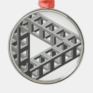 Omöjlig optisk illusiontriangel julgransprydnad metall