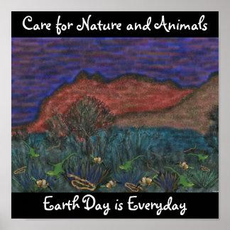 Omsorg för natur och djuraffisch poster