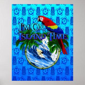 Ön Time som surfar blått Tiki, maskerar Poster
