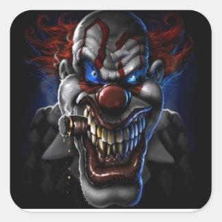 Ond clown och cigarr fyrkantigt klistermärke
