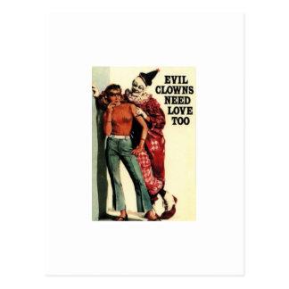 Onda clowner behöver kärlek, för vintage vykort