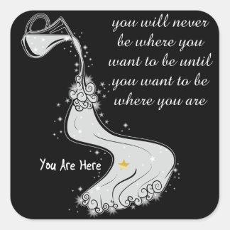 Önska att vara var du är fyrkantigt klistermärke