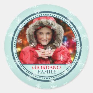 Önska dig en god julfotoram runt klistermärke