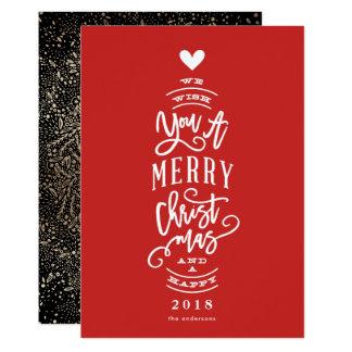 Önska dig god jul det lyckliga året inget fotokort 12,7 x 17,8 cm inbjudningskort