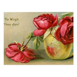 Önska dig vykortet för glädjevintageblommigten vykort