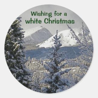 Önska för jul för en vit runt klistermärke