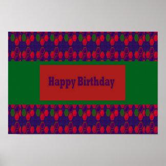Önska grattis på födelsedagen med färgrik kanfas poster