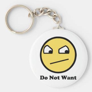 Önska inte enormt ansikte rund nyckelring