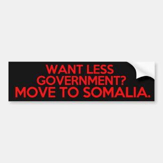 Önska mindre regering? Flyttning till Somalia Bildekal