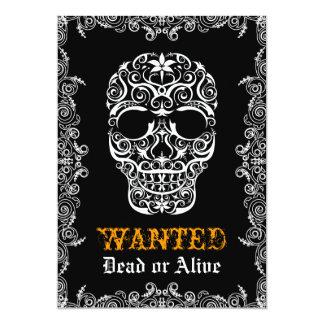 Önskad död eller vid liv Halloween skalleinbjudan 12,7 X 17,8 Cm Inbjudningskort