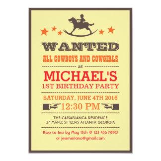 Önskad för Cowboyfödelsedag för land western 12,7 X 17,8 Cm Inbjudningskort