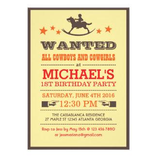 Önskad för Cowboyfödelsedag för land western inbju