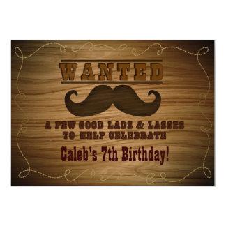 Önskad för Cowboymustasch för vild western 12,7 X 17,8 Cm Inbjudningskort