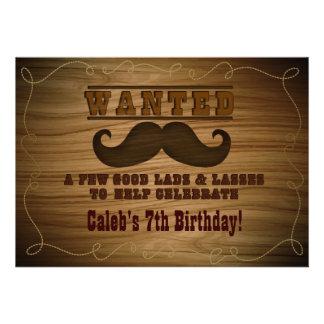Önskad för Cowboymustasch för vild western inbjuda