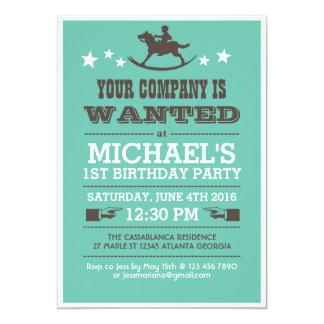 Önskad western Cowboyfödelsedaginbjudan för pojkar 12,7 X 17,8 Cm Inbjudningskort