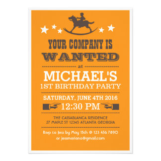 Önskad western Cowboyfödelsedaginbjudan för pojkar
