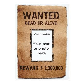Önskade Dead eller vid liv affisch 12,7 X 17,8 Cm Inbjudningskort