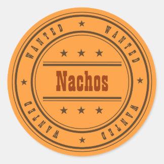 ÖNSKADE Nachos skräddarsy meddelandet Runt Klistermärke