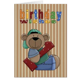 Önskar den första födelsedagen för den roliga hälsningskort