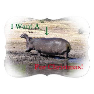"""""""Önskar jag A (fotoet av flodhästen) för jul """", 12,7 X 17,8 Cm Inbjudningskort"""