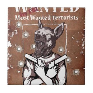 Önskat av den djura galna hunden för FBI Kakelplatta