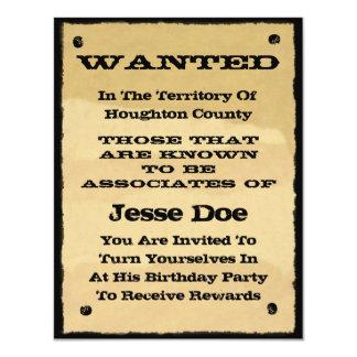 Önskat party för Cowboy för affischinbjudningar 10,8 X 14 Cm Inbjudningskort