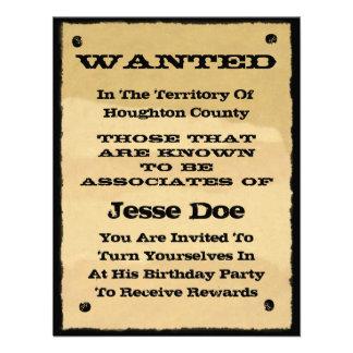Önskat party för Cowboy för affischinbjudningar ro