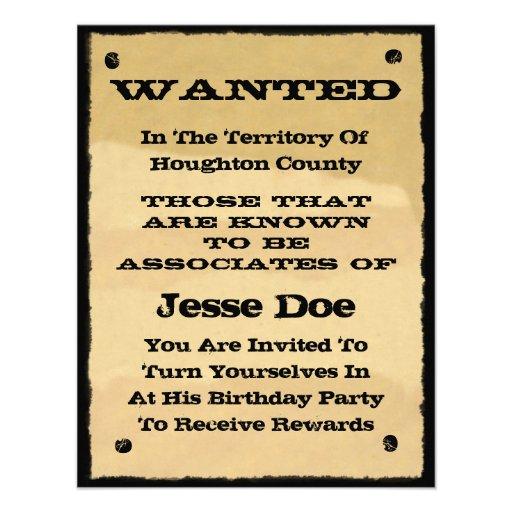 Önskat party för Cowboy för affischinbjudningar ro Inbjudningar
