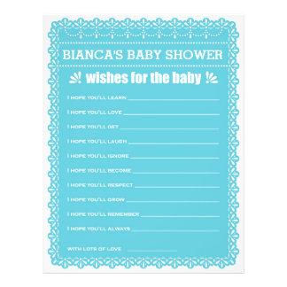 Önskemål för den baby blue Papel Picado baby Reklamblad 21,5 X 30 Cm