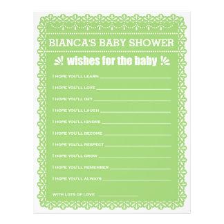 Önskemål för den babygröntPapel Picado baby shower Reklamblad 21,5 X 30 Cm