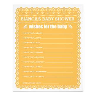 Önskemål för den orange Papel Picado för baby baby Reklamblad 11,5 X 14 Cm