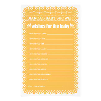 Önskemål för den orange Papel Picado för baby baby Reklamblad 14 X 21,5 Cm