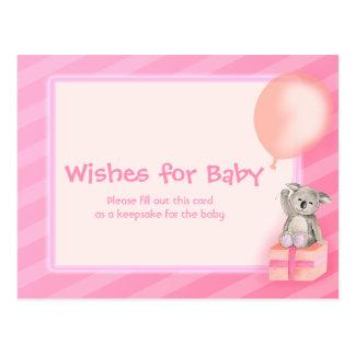 Önskemål för flickan - koalababy showervykort vykort