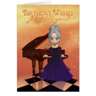 Önskemål för födelsedag för kort för pianofödelsed