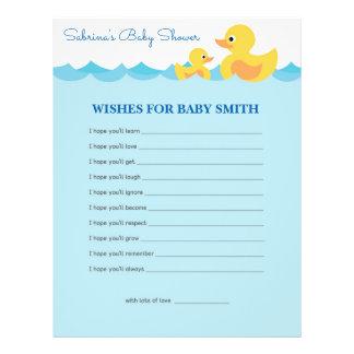 Önskemål för för ankababy shower för baby gullig reklamblad 21,5 x 30 cm