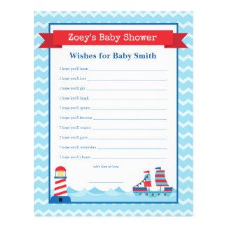 Önskemål för för temadusch för baby den nautiska reklamblad 21,5 x 30 cm