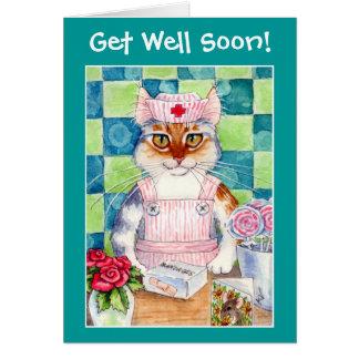 Önskemål för katt för godisstripersjuksköterska hälsningskort