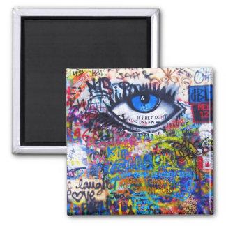 Ont öga för blåttgrafitti magnet