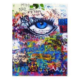 Ont öga för blåttgrafitti vykort