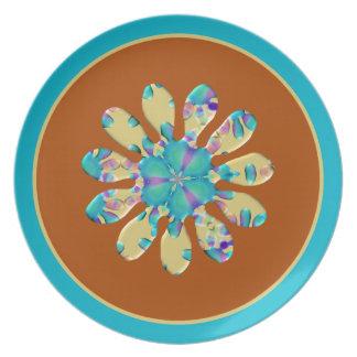 Opalescent glöd för Retro Glam daisyblommaturkos Tallrik