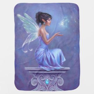 Opalite blått- & lilafe med fjärilsfilten bebisfilt