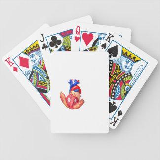 Open modellerar människahjärta på vitbakgrund spelkort